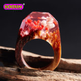Handmade Wooden Resin Ring with Magnificent Tiny Fantasy Flower Landscape Jewellery Wholesale