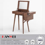 Walnut Wooden Storage Dressing Vanity Table with Mirror