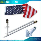 6 FT White Steel 3X5FT USA Flag Pole Gold Ball Top Wall Mount Bracket