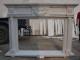 Stone Carving Fireplace with Flowers
