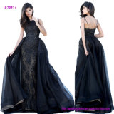 Noble High Neck Fitted Lace Appliqued Eveing Dress with Tulle Over Skirt