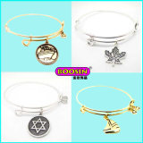 Fashion Wholesale Alloy Logo Charms Expandable Brass Wire Bangle