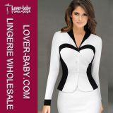 Elegant White Black Patchwork Long Sleeve Office Dresses L36079-1