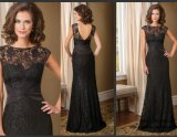 Black Lace Mother of Bride Dress V-Back Evening Dress B40