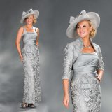 Lace Mother of The Bride Formal Gowns Satin Jacket Evening Dresses Z7011
