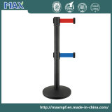 Two Belt Black Matt Crowd Control Retractable Barriers