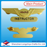Small Size Enamel Metal Badge with Gold Plating Logo