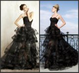 Sweetheart Party Prom Gowns Black Organza Tiered Evening Dress Ya072