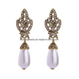 Retro Alloy Diamonds Studded Earrings Water-Drop Shape Pearl Pendant