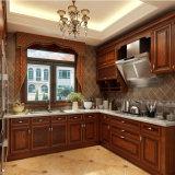 Oak Solid Wooden Double Door Kitchen Cabinet with Hidden Drawers