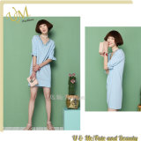 Lotus Leaf MID Sleeves V Neck blue Linen Dress