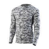 Long Sleeve Camouflage Rash Guard Compression Shirt with Dri-Fit Material