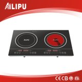 Double Burners Induction and Infrared Cooker with Metal Ring Sm-Dic03