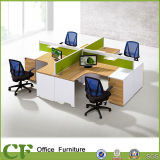 Fabric Partition Curve L Shape Office Workstation for 4 Employees