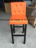 Orange Leather Bar Stools with Metal Leg (FOH-BS105)