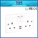 13A 5V 2.1A Double UK USB Wall Socket