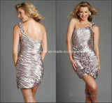 Pleats Sheath Silver One-Shoulder Prom Party Cocktail Homecoming Dresses Y1028
