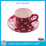 Pink with White Dots Coffee Cup and Saucer