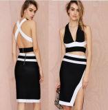 Black and White V-Necked Vent Ladies Bandage Short Dress