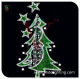 Green Christmas Lighted Tree for Pole Decoration Pole Mounted