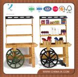 Wooden Vendor Cart with 3 Shelves