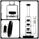 Glass Smoking Pipe with Black Triple Layer Mushroom with Recycler