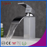 Fyeer Bathroom Curved Spout Waterfall Basin Faucet Water Mixer Tap