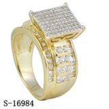 High Quality 925 Silver CZ Rings Yellow Gold Plated Ladies Rings