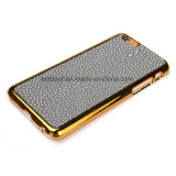 Electroplated PC Housing with Leather Back Cover Phone Case