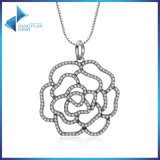 925 Sterling Silver Shimmering Rose Pendant Necklace, Clear CZ Necklaces & Pendants
