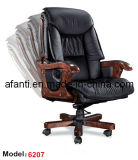 Office Luxury Ergonomic Hotel Executive Wooden Leather Boss Chair (RFT-6207)
