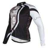 Men′s Windproof Long Sleeves Winter Thermal Black&White Bicycle Jersey