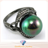 Fashion Jewelry for Woman Shiny 925 Sterling Silver CZ & Pearl Ring (R10179)