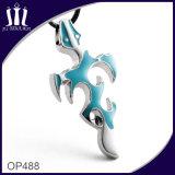 Op488 Blue Enamel Frame Cross Necklace