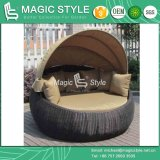 Rattan Daybed with Umbrella with Cushion Garden Sun Lounge (Magic Style)