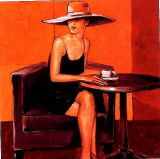 Woman in Cafe Design Canvas Oil Painting for Home Decor (LH399000)