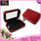 Square Red Custom Leather Cosmetic Bag with Mirror (1463)