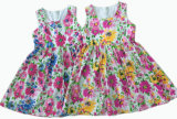 Fashion Mesh Sleeveless Flower Gril Dress for Children Clothes (SQD-106)
