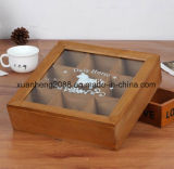 Gift Wooden Tea Packaging Box with Glass Top