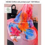 2017 Newest Fashion Lady Chiffon Silk Scarf Flower Printed Shawl