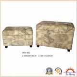 2-PC Upholstered Lift Top Linen Print Storage Ottoman Bench Wooden Trunk