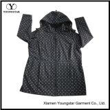 Ys-1067 Printed Black Microfleece Waterproof Breathable Womens Hooded Softshell Jacket