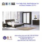 Black Color Double Bed Modern Melamine Bedroom Furniture (F15#)