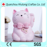 Custom Lucky Cat Pink Resin Coin Bank for Home Decoration
