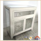 Mirrored Storage Chest with 2 Drawers 2 Doors Nightstand