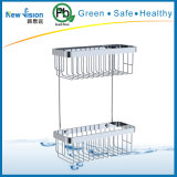Double Layer Stainless Steel Corner Shelves in Bathroom