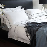 Hotel Linen 100%Cotton White Bedsheets Embroidery Bed Sheet with Pillowcase