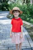 Red Hollowed-out Girls Summer T-Shirt