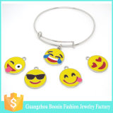 2016 Trendy Copper Adjustable Wire Bangle Bracelet with Emoji Charms