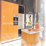 2016 Welbom Bright Orange Color Circular Arc Kitchen Cabinet Designs